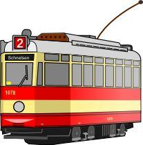 Strassenbahnwagen der Linie 2 nach Schnelsen.